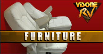 RV Furniture USED RV/MOTORHOME BLUE LEATHER PREVOST SWIVEL RECLINING CHAIR *RECOVERABLE*